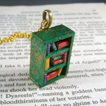 Miniature Bookcase Necklace by JanDaJewelry.