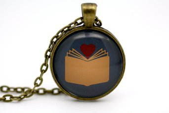 'I Found My Love In A Book' Necklace in Blue by BeneathGlass.