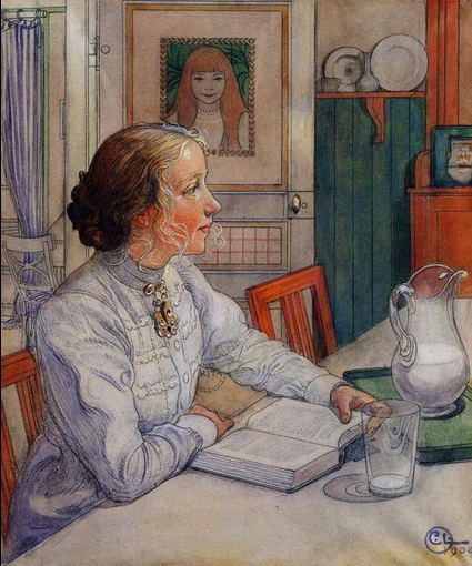 My Eldest Daughter, Suzanne with Milk and Book by Carl Larsson, 1904.