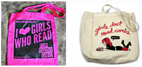 I ♥ GIRLS WHO READ by For Books' Sake and Girls Don't Read Comics by Kate or Die.